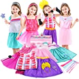 Jeowoqao Girls Dress up Trunk Princess Pretend Play Costumes Set 28 Pcs, Ballerina, Superstar, Princess, Fairy Costume, Kids