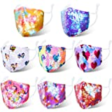 8 Pieces Glitter Kids Mask Sequin Cloth Masks Bling Hearts Unicorn Star Face Covering for Boys Girls Children Reusable Protec