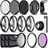 Neewer 49MM Lens Filter and Accessory Kit, Includes: UV CPL FLD Filters, Macro Close Up Filter Set(+1 +2 +4 +10), ND2 ND4 ND8