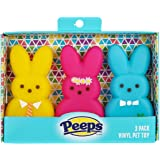 Peeps for Pets 3 Piece Dress-Up Bunnies Vinyl Dog Toys Yellow, Pink, Blue 4 inch Plastic Squeaky Dog Toys Value Pack Fun, Cut
