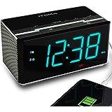 iTOMA Radio Alarm Clock FM Digital Radio Clock Bedside Alarm Clock, Wireless Bluetooth Stereo Speakers,USB Charging,Dual Alar