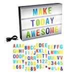 LED Cinematic Light Decorative Box Sign Interchangeable Multicolor Letters Numbers Symbols- A4 Size Marquee with USB...