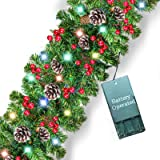 9 Foot by 10 Inch Christmas Garland 50 LED Light Xmas Wreaths Garland with Pine Cones, Red Berries, Silver Bristle, Battery O