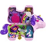 Polly Pocket Unicorn Party Large Compact Playset with Micro Polly & Lila Dolls, 25+ Surprises to Discover & Fun Princess Part