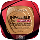L'Oreal Paris Infallible Fresh Wear Foundation in a Powder, Up to 24H Wear, Hazelnut, 0.31 oz.