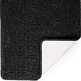 DEARTOWN 31x59 Inch Absorbent Chenille Microfiber Dog Door Mat | Absorbent, Quick Dry, Anti-Skid TPR Bottom - Black