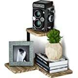 SRIWATANA Rustic Corner Shelf, 2-Tier Wood Wall Shelf, Wall Mounted Storage Shelves for Bedroom, Living Room, Bathroom, Carbo