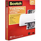 Scotch Thermal Laminating Pouches, 8.9 x 11.4-Inches, 3 mil Thick, 200-Pack (TP3854-200),Clear