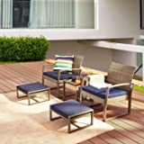LOKATSE HOME 5-Piece Wicker Outdoor Conversation Set Patio Furniture PE Rattan All Weather Cushioned Chairs Balcony Porch wit