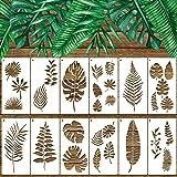 12 Pieces Tropical Leaf Stencils, Fern Leaf Monstera Palm Leaf Turtle Leaf Wall StencilTemplate Botanical Leaves Reusable St