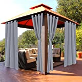 BONZER Waterproof Indoor/Outdoor Curtains for Patio - Thermal Insulated, Sun Blocking Grommet Blackout Curtains for Bedroom,