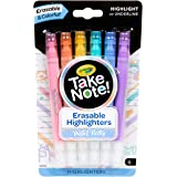 CRAYOLA Erasable Highlighters Take Note! Erasable Highlighter Markers, Pastel Party, 6 Count, (58 6556), 6Count