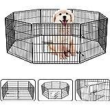 "24"" Dog Playpen Dog Dence Exercise Pen, 8 Panel Pet Pet Playpen Puppy Enclosure Fence Play Pen, Indoor/Outdoor Foldable Metal"