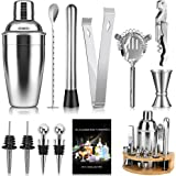 Tobeape Cocktail Shaker Set 750ml Bartender Making Kit with Wooden Stand, Home Bar Accessories Drink Mixer Cocktail Maker Bar