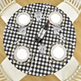 DecorMaster Round Fitted Vinyl Tablecloth with Flannel Backing Elastic Edge Waterproof Plastic Table Cover for Outdoor Patio