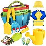 INNOCHEER Kids Gardening Tools, 9 Piece Garden Tool Set for Kids with Gardening Guide Book, Watering Can, Gloves, Shovel, Rak