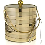 Hand Made In USA Matte/Shiny Brushed Gold Stripes Double Walled 3-Quart Insulated Ice Bucket With Bonus Ice Tongs