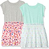 Spotted Zebra Girls' Big 2-Pack Short-Sleeve Knit-to-Woven Dresses