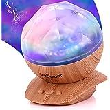 Soothing Aurora Borealis LED Night Light Projector - Music Speaker - Chic Wood Texture Furniture Look - 45 Degree Tilt - 8 Li