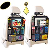 "Car Back Seat Organizer,Car Seat Back Protectors with 10"" Tablet Holder,9 Storage Pockets for Kids Drink Toy Diaper,Kick Mat"