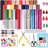 TUPARKA 30 Pcs Faux Leather Fabric Sheet 6 Kinds of Leather Fabric for Earring Making Crafts with Hole Puncher, 210 Set Earri