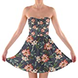 Rainbow Rules Hawaiian Dark Flowers Sweetheart Skater Dress Strapless