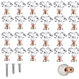 25 Pack 30mm Rose Gold Cabinet Knobs Drawer Pulls Drawer Knobs Dresser Knobs Diamond Shaped Crystal Glass with Screws (25pcs)