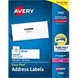 """Avery Address Labels with Sure Feed for Laser Printers, 1-1/3"""" x 4"""", 1,400 Labels, Permanent Adhesive (5162) , White"""