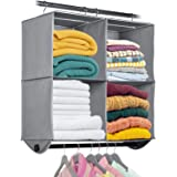 Hanging Closet Organizer with Garment Rod - 4 Section Heavy Duty Fabric Space Saver for Closets, Easy to Mount, Foldable Clos