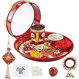 HATHKAAM Karwachauth Thali Set for Women 11 PC Indian Decorative Pooja Thali Kit Traditional Steel Handpainted Karvachauth Pl