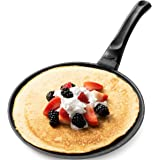 GOURMEX Toughpan Induction Crepe Pan, Black, With Nonstick Coating - Great Skillet for Omelets and Crepes - Perfect for All H