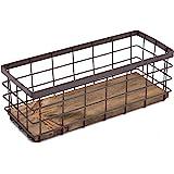Small Metal Wire Storage Basket, Detachable Wood Base Storage Organizer Bin Basket for Kitchen Cabinets, Bathroom, Pantry, Ga
