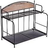 BetyHom 2層キッチンカウンタースパイスラック、バスルームメタルと木製の折りたたみ式棚オーガナイザー (褐色)