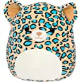 """Squishmallows Official Kellytoy Plush 8"""" Teal Leopard - Ultrasoft Stuffed Animal Plush Toy"""