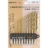 【Amazon限定ブランド】ESPOTOL(エスポツール) 六角軸 鉄工用チタンコーティング゛ドリル 10本組+両頭ビット付