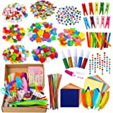 PP OPOUNT Art and Craft Kit Box Bulk Pack - 19 Styles Creative Kits Including Pipe Cleaners, Pom Poms, Craft Sticks, Glues, L