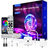 "65.6ft LED Strip Lights, Music Sync Color Changing RGB LED Lights""Smile Face""Controller & Remote Built-in Mic, Bluetooth APP"