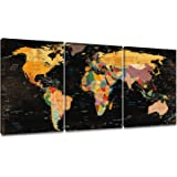 (41cm x 30cm x 3) - Decor MI Black World Map Wall Art Canvas Paintings 3 Pieces Map of The World Stretched Framed Ready to Ha