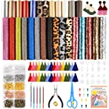 Caydo 28 Pieces 5 Styles Faux Leather Sheets, Leather Earring Making Kits with Tassel Hoop, Instructions, Cut Template, Earri