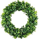 Bhappy Boxwood Wreath 15 inch Artificial Greenery Wreath Indoor Front Door Home Hanging Wall Window Wedding Party Decor