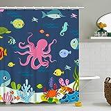 Shower Curtain Octopus Cartoon Underwater Sea Animal Fish 12 Hooks Deep Ocean Sea Turtle Shrimp Blue for Kids Boys Girls Fabr