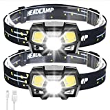 2Packs LED Headlamp Rechargeable USB Flashlights, 800 Lumens Head Lamp Headlight Headlamps with Red Light and Motion Sensor f