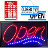 Large LED Open Sign for Business Displays: Jumbo Light Up Sign Open with 2 Flashing Modes | Electronic Lighted Signs for Bars