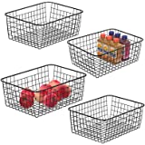 Metal Wire Basket iSPECLE Freezer Baskets Storage Organizer Bins with Handles for Kitchen, Pantry, Closet, Laundry Room, Cabi