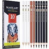 Professional Charcoal Pencils Drawing Set - MARKART 10 Pieces Colour Charcoal Pencils for Drawing, Sketching, Shading, Blendi