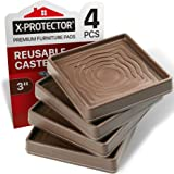 Furniture Cups X-PROTECTOR – Caster Cups 4 PCS – Premium Furniture Coasters – Ideal Bed Stoppers – Non Skid Furniture Pads wi
