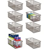 mDesign Farmhouse Metal Wire Storage Basket Bin with Handles for Home Office, Filing Cabinets, Shelves - Organizer for School