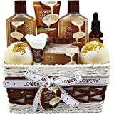 Bath and Body Gift Basket For Women and Men - 9 Piece Set of Vanilla Coconut Home Spa Set, Includes Fragrant Lotions, Extra L