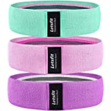 Letsfit Resistance Bands for Legs and Butts, Exercise Booty Bands for Home Fitness, Pilates, Yoga, Stretching and More, Wide