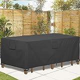 GARDRIT Patio Furniture Covers, Veranda Rectangular/Oval 100% Waterproof Patio Table Cover, 108''L x 82''W x 27.5''H Heavy Du